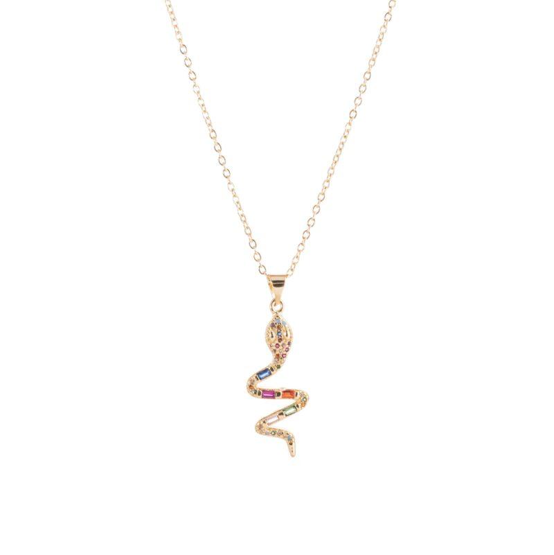 Collar de cobre con colgante de serpiente con circonitas de colores.