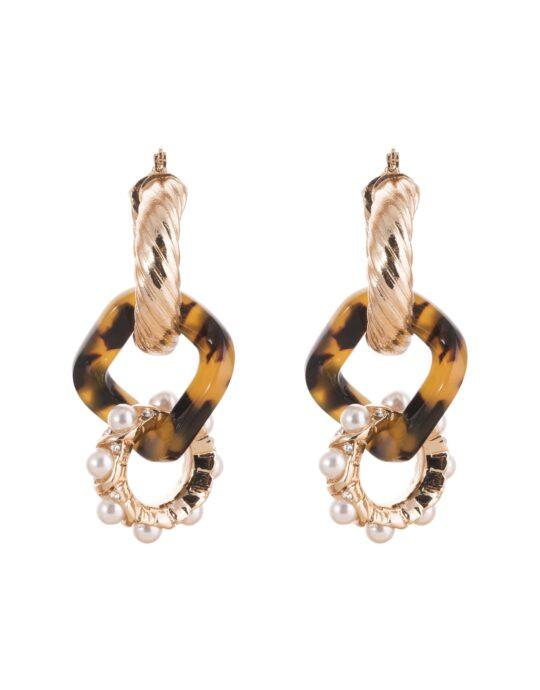 Pendientes de cadena de metal de estilo retro con perlas.