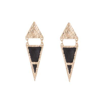 Pendientes con forma triangular en color dorado y negro.