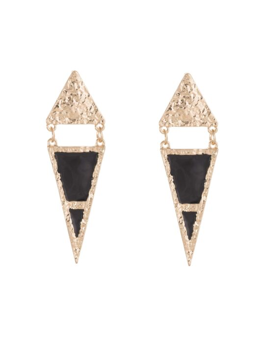 Pendientes con forma triangular en color dorado y negro.