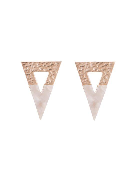 Pendientes con forma triangular en color marfil y dorado fabricados en acrílico y aleación.