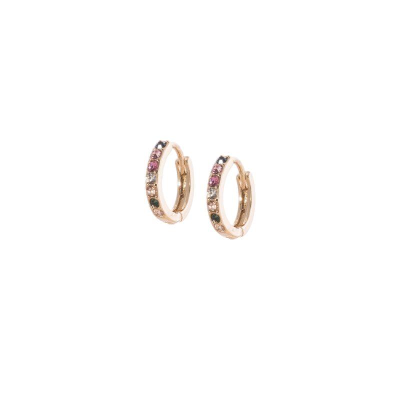 Pendientes aretes mini con incrustaciones en circonitas de colores.