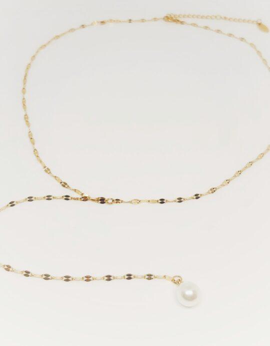 Collar en forma de Y chapado en oro