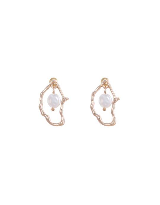 Pendientes de aleación con forma irregular y perla.