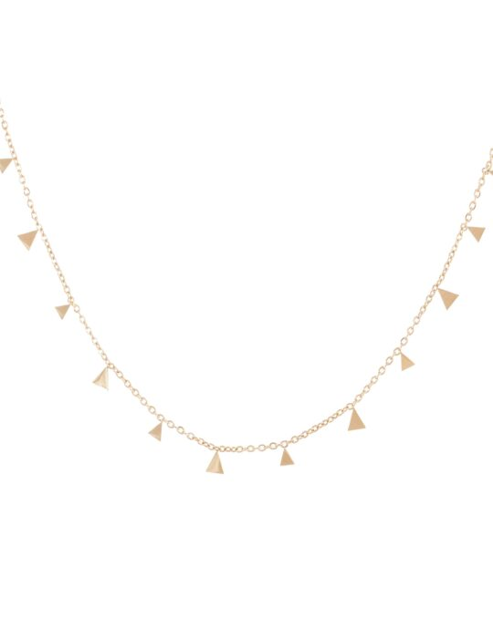 Collar cadena de clavícula con pequeños triángulos.