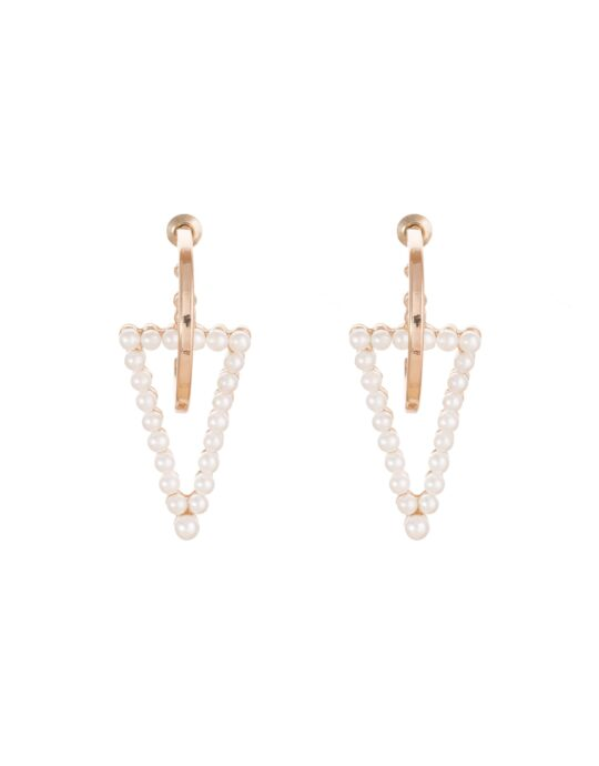 Aretes de aleación en forma de C con triángulo de perlas.