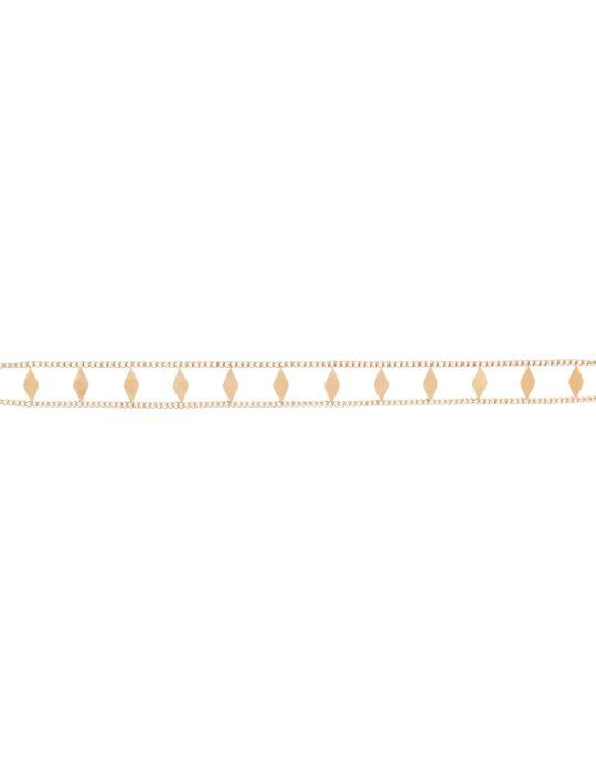 Collar choker doble cadena con rombos en acero.