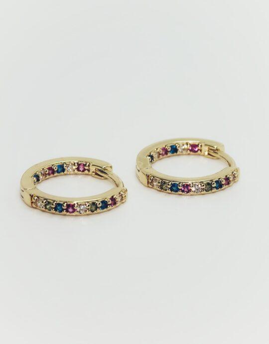 Aretes con circonitas de colores. Chapado en oro.
