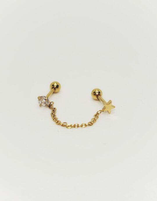 Piercing doble estrella oro