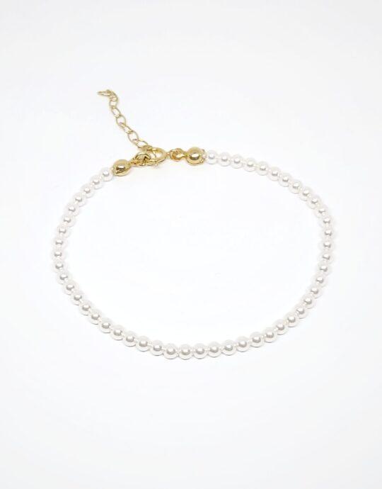 Pulsera Lombok en plata de ley con baño de oro con perlas de gran calidad de 3mm.