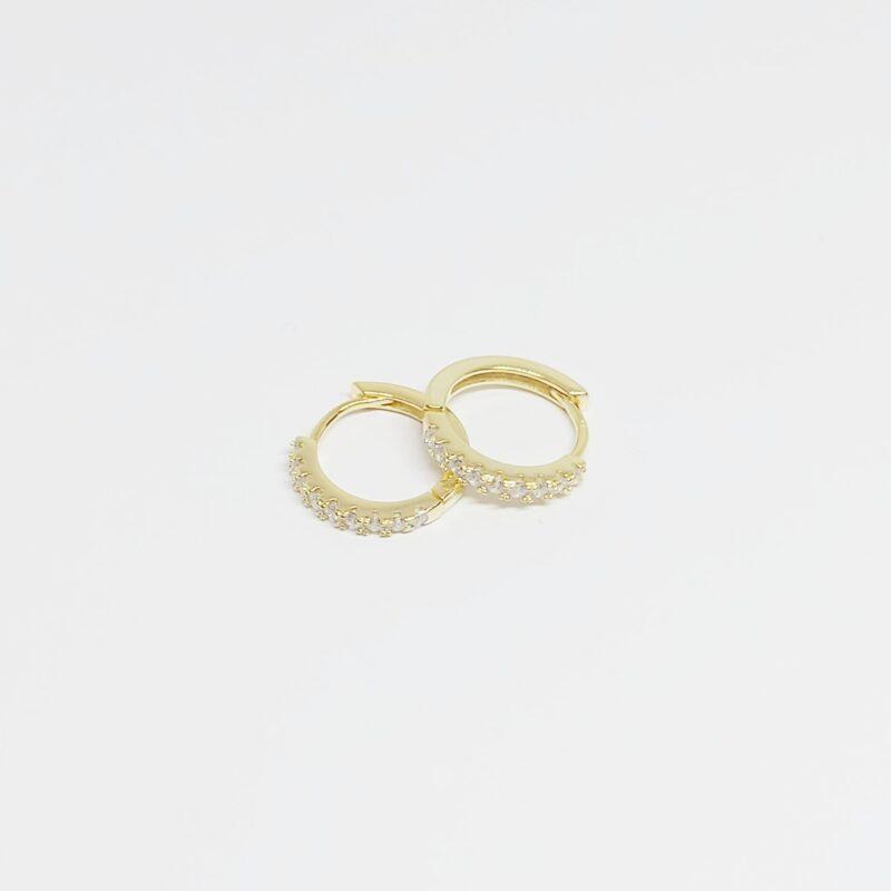 Aros Amberes en plata de ley y circonitas blancas