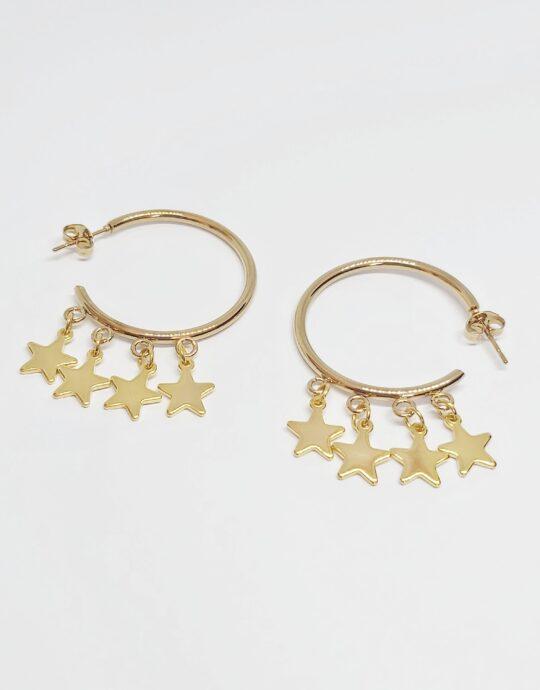 Pendientes Nueva York en acero inoxidable con estrellas. Baño de oro.