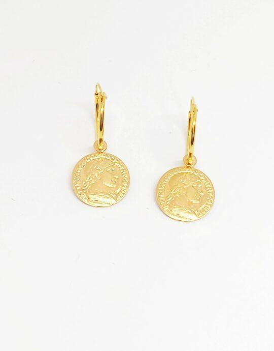 Pendientes Roma Oro en plata de ley con forma de moneda baño de oro