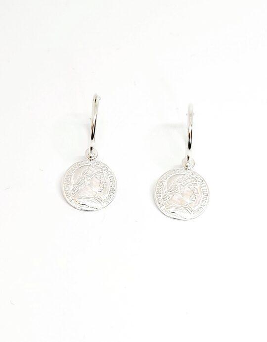 Pendientes Roma moneda en plata de ley