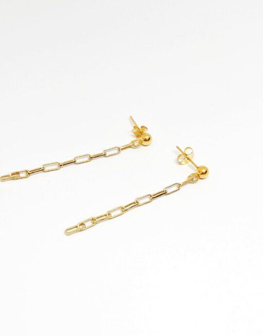 Pendientes Rodas Oro en plata de ley con forma de cadena