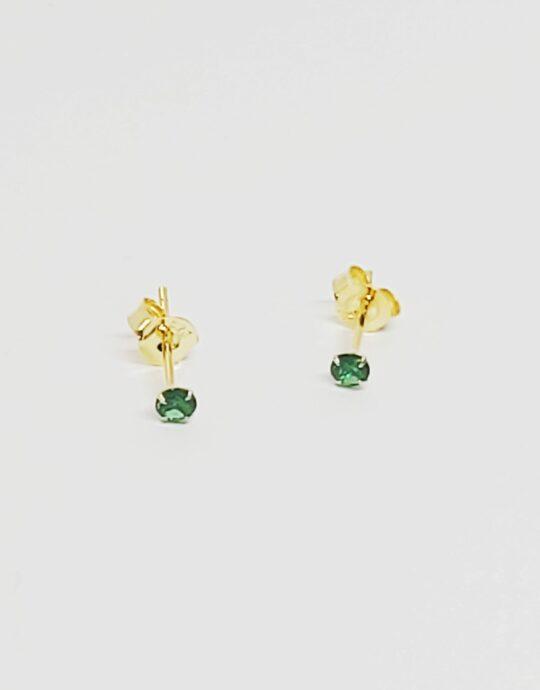 Pendientes Jaipur plata de ley con circonita verde esmeralda. Baño de oro.