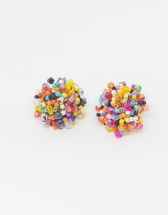 Pendientes Aguadulce. Pendientes de fiesta en forma de bola con cristales multicolores.