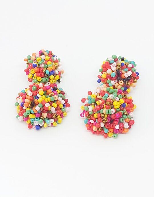 Pendientes Zahara. Pendientes de fiesta con doble bola con colores multicolores.