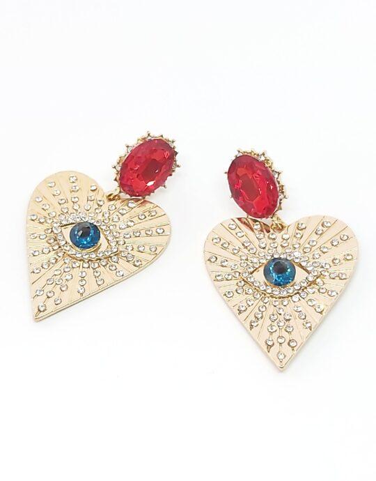 Pendientes Umbría. Pendientes de fiesta en forma de corazón con cristales de colores.
