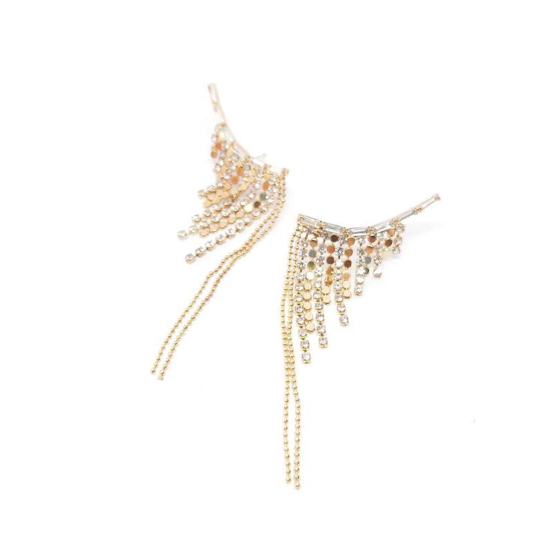 Pendientes de fiesta en forma de alas con tiras de cristales. Color dorado.