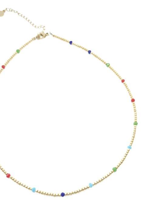 Collar gargantilla en acero miju cristal multicolor intercalado.