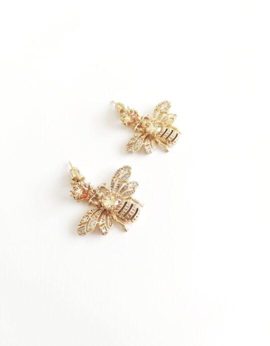 Pendientes Sidonia Mini. Pendientes de fiesta con abeja brillante. Fabricado en zinc (70%) y cristal (30%). Color dorado. Sin níquel. Alto: 2´5 cm. Ancho: 3 cm.