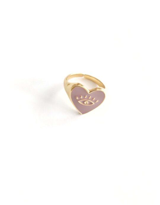 Anillo ajustable en acero inoxidable con forma de corazón con ojo en color malva. Bañado en oro.