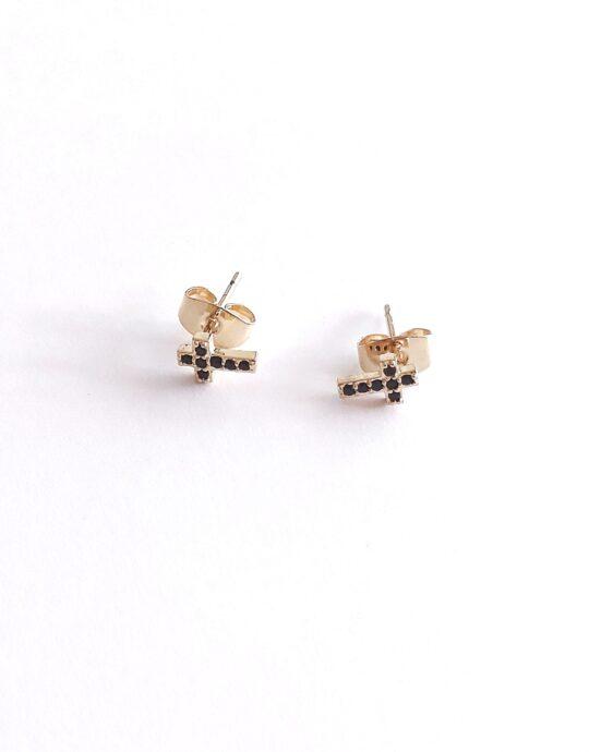 Minis en oro laminado con forma de cruz con circonitas en color negro. Perfecto para piercings. Largo: 7 mm.