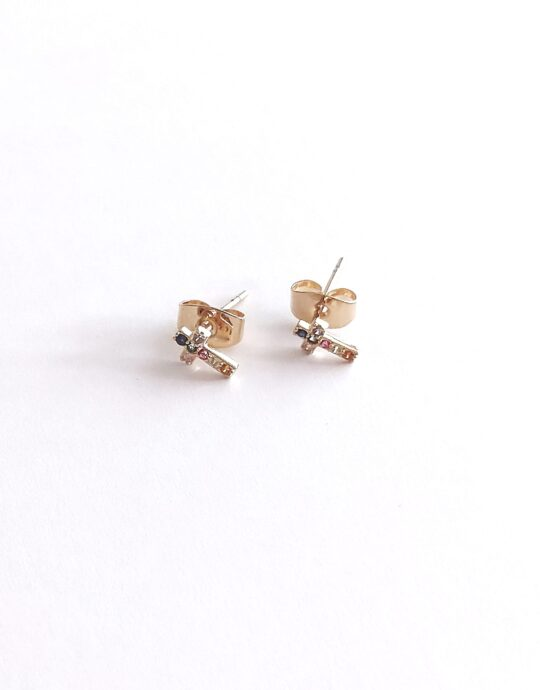 Minis en oro laminado con forma de cruz con circonitas de diferentes colores. Perfecto para piercings.